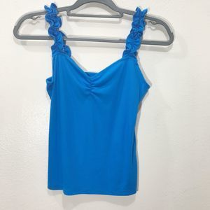 BP Ruffle Straps Blue Ribbed Tank Top with Gather